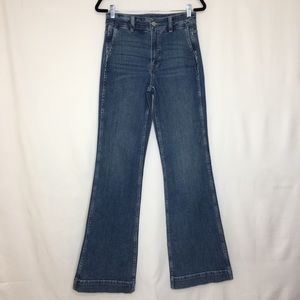 J. CREW wide leg trouser flare jeans lagoon H24